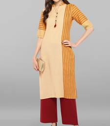 Yellow printed cotton ethnic-kurtis