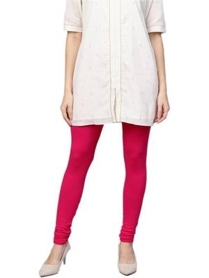 Fuschia Cotton Lycra Solid Legging