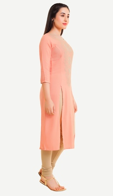 Peach embroidered viscose kurtas-and-kurtis