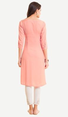 Pink embroidered viscose kurtas-and-kurtis