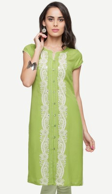 Green embroidered viscose kurtas-and-kurtis