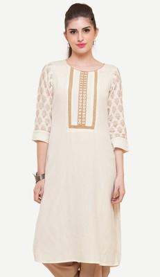 White embroidered viscose kurtas-and-kurtis
