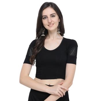 Women's  Black Cotton Lycra Stitch Blouse