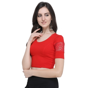 Women's  Red Cotton Lycra Stitch Blouse