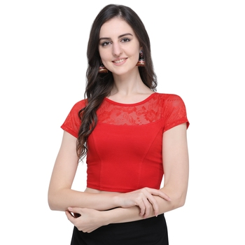 Women's  Red Cotton Lycra Stitch Blouse