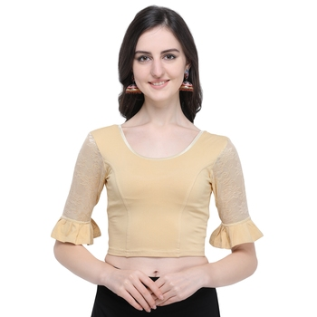 Women's  Beige Cotton Lycra Stitch Blouse
