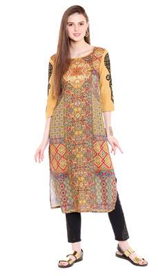 Beige embroidered viscose kurtas-and-kurtis