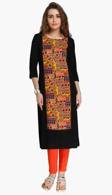 Black embroidered viscose kurtas-and-kurtis