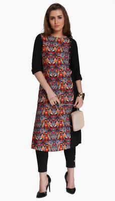 Black embroidered viscose kurtas-and-kurtis