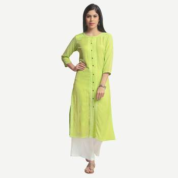 Green embroidered viscose kurtas-and-kurtis