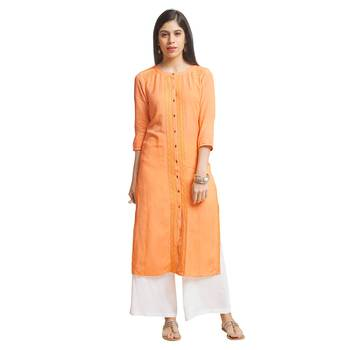 Orange embroidered viscose kurtas-and-kurtis