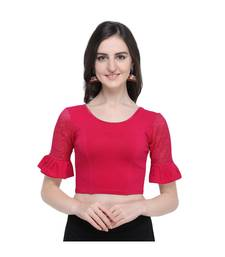 Women's  Pink Cotton Lycra Stitch Blouse