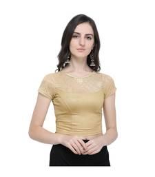 Women's  Gold Cotton Lycra Stitch Blouse