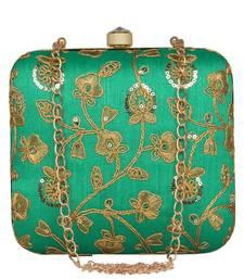 Anekaant Vista Embroidered Faux Silk Box Clutch Green