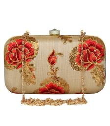 Anekaant Tulle Embroidered Faux Silk Box Clutch Beige