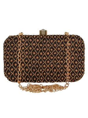 Anekaant Adorn Embellished Faux Silk Box Clutch Black & Gold