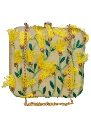 Anekaant Vista Embroidered Faux Silk Box Clutch Beige & Multi