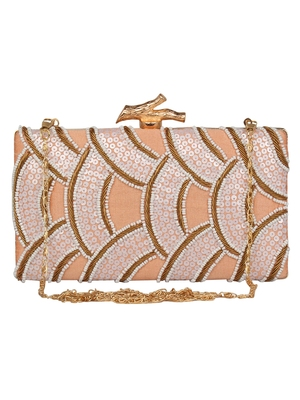 Anekaant Svelte Sequines Embellished Faux Silk Box Clutch Peach & White