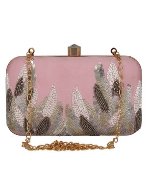 Anekaant Adorn Sequines Embellished Faux Silk Box Clutch Pink & Multi