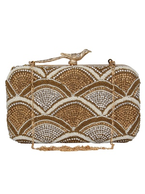Anekaant Adorn Embellished Faux Silk Box Clutch Gold & Multi