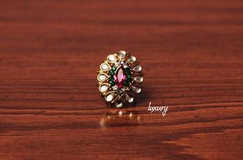 Exotica Cocktail Flower Crystals RING, Adjustable Handmade, Precious Stone Jewelry
