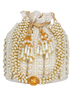 Anekaant Dangle Embellished Faux Silk Potli White & Gold