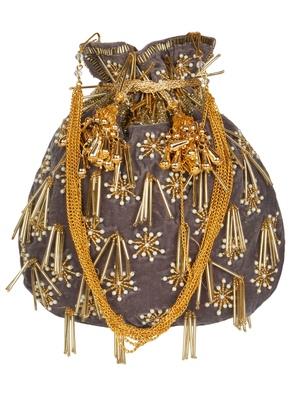 Anekaant Dangle Embellished Velvet Potli  Grey & Gold
