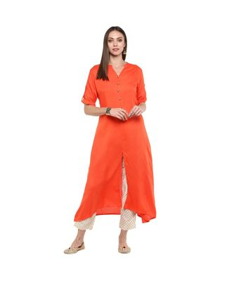 ORANGE KURTI WITH BEIGE FOIL PRINT TROUSERS