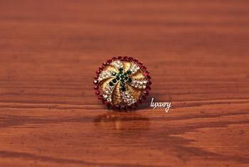 Maharani   Green Kundan RING, Adjustable Handmade, Precious Stone Jewelry