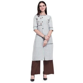 Light-multicolor embroidered cotton long-kurtis