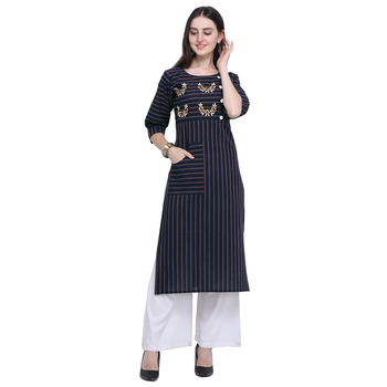 Dark-blue embroidered cotton long-kurtis