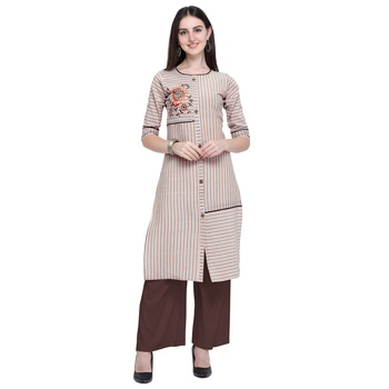 Beige embroidered cotton long-kurtis