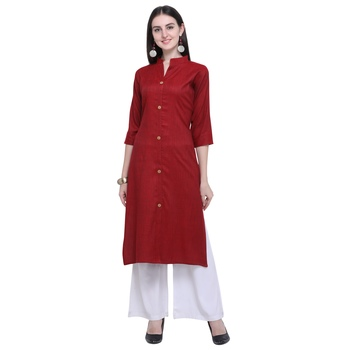 Dark-blood-red plain rayon long-kurtis