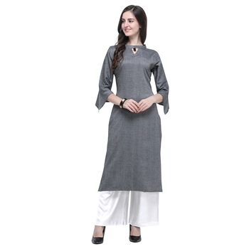 Dark-grey plain rayon long-kurtis