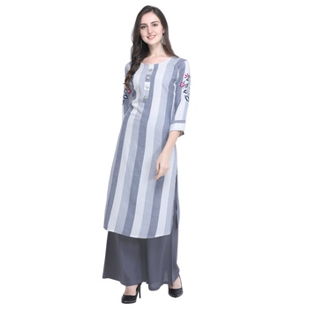 Light-blue embroidered rayon long-kurtis