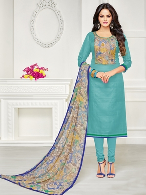 Sky-Blue Embroidered Chanderi Silk Salwar