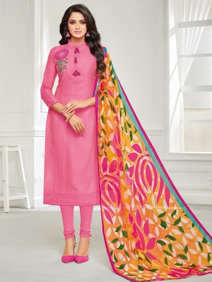 Pink Embroidered Chanderi Silk Salwar