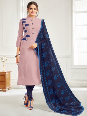 Mauve Embroidered Chanderi Silk Salwar