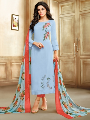 Light-Blue Embroidered Chanderi Silk Salwar