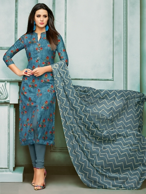 Dark-Blue Printed Chanderi Silk Salwar
