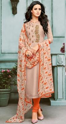 Light-Peach Embroidered Chanderi Silk Salwar