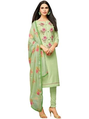 Light-Green Embroidered Chanderi Silk Salwar