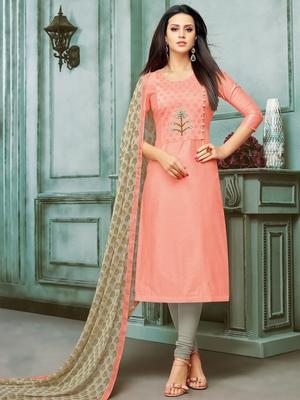 Peach Embroidered Chanderi Silk Salwar