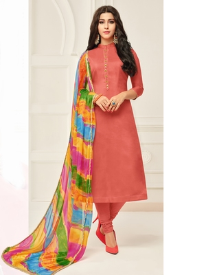 Brown Plain Chanderi Silk Salwar