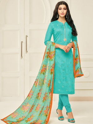 Turquoise Printed Chanderi Silk Salwar