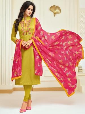 Mustard Embroidered Chanderi Silk Salwar