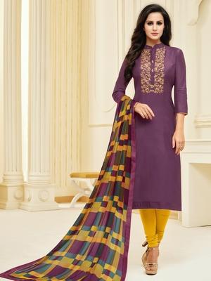 Wine embroidered chanderi silk salwar