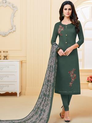Dark-Green Embroidered Chanderi Silk Salwar
