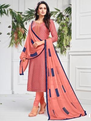 Peach Printed Chanderi Silk Salwar