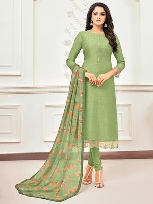 Olive Embroidered Chanderi Silk Salwar